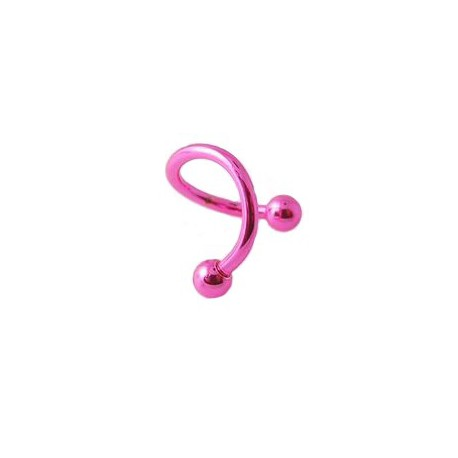piercing spirale pour oreille rose acier anodis avec boules 3mm. Black Bedroom Furniture Sets. Home Design Ideas