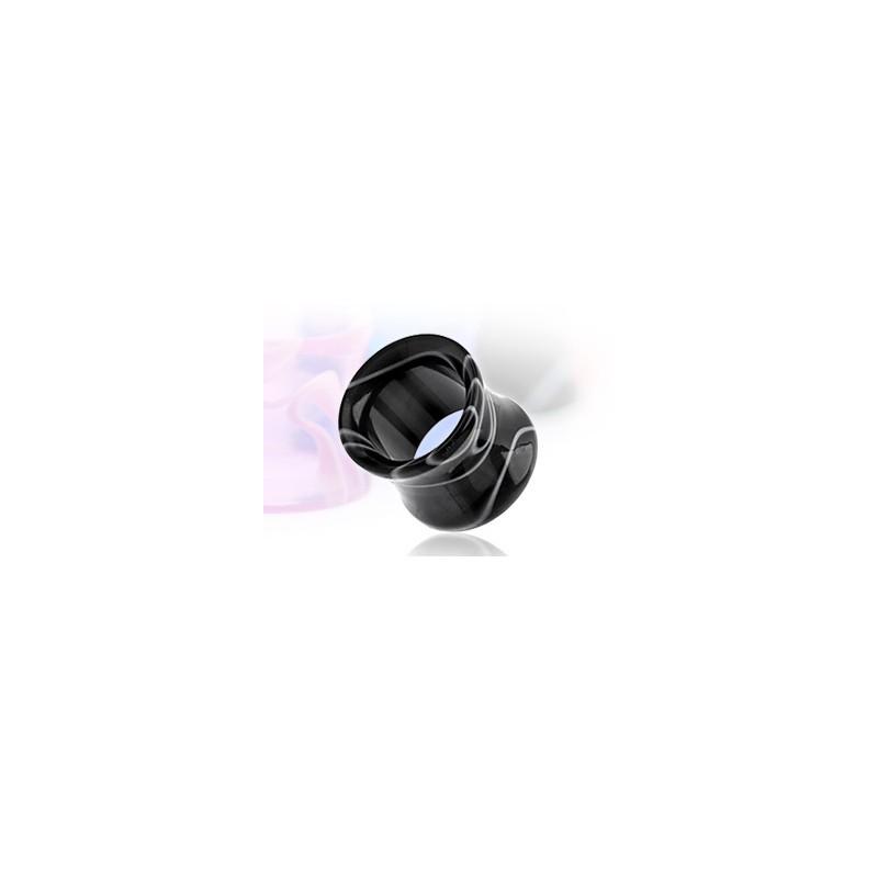 Piercing tunnel en acrylique de couleur marbr noir et blanc - Marbre noir et blanc ...