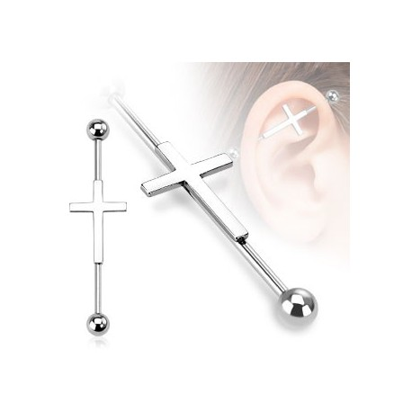 piercing oreille industriel cartilage avec une croix au centre de la barre. Black Bedroom Furniture Sets. Home Design Ideas