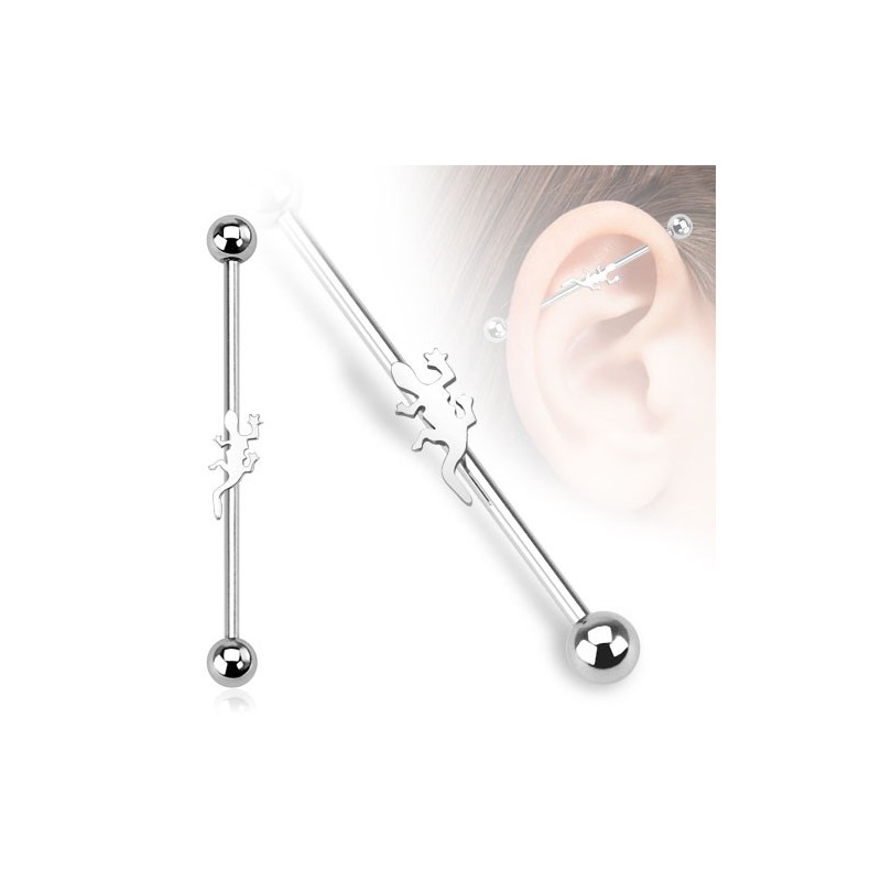 piercing oreille industriel cartilage avec une salamandre au centre de la barre. Black Bedroom Furniture Sets. Home Design Ideas