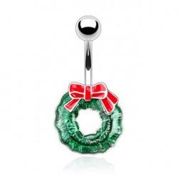 Piercing nombril couronne verte de Noël Ruai