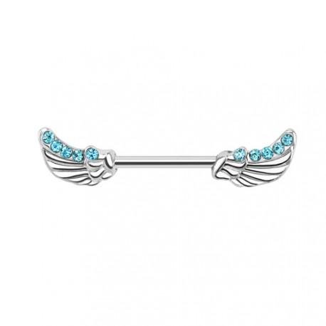piercing t ton acier avec des ailes d 39 ange de couleur bleu en acier. Black Bedroom Furniture Sets. Home Design Ideas