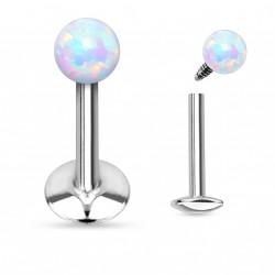 Piercing labret lèvre 6mm boule opale blanche Guhy