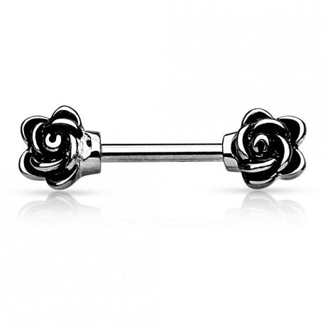 piercing t ton avec deux fleurs motif rose de couleur gris acier. Black Bedroom Furniture Sets. Home Design Ideas