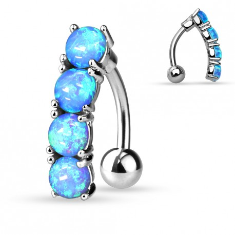 piercing nombril inverse avec des pierres en opaline bleu de synth se. Black Bedroom Furniture Sets. Home Design Ideas