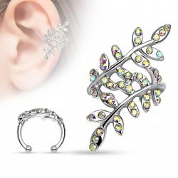 Faux anneau d'oreille branches et feuilles avec cristal Vat