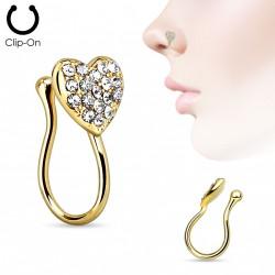 Faux piercing de nez coeur doré et gems blanc Pag