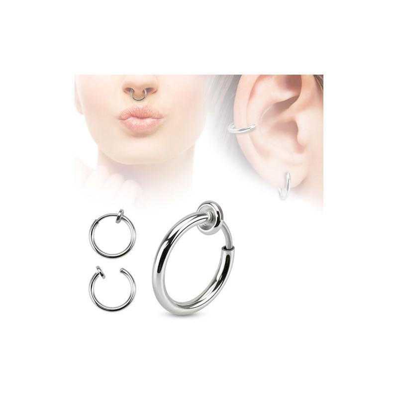 faux piercing anneau en acier chirurgical pour l vre ou oreille clip. Black Bedroom Furniture Sets. Home Design Ideas