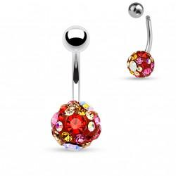 Piercing nombril boule crystal rose rouge Akop