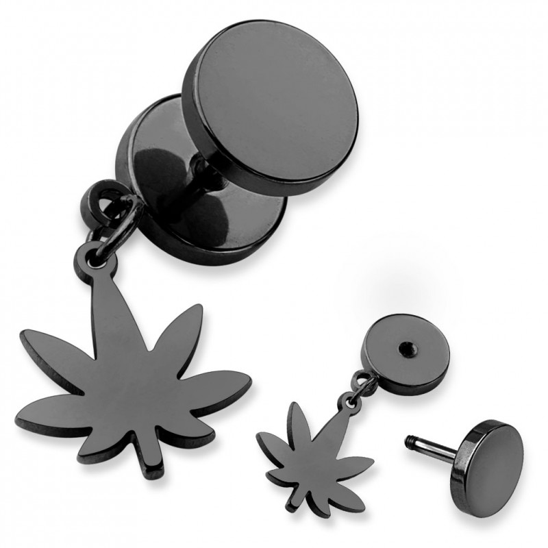 faux piercing plug avec une feuille de cannabis noir pas cher. Black Bedroom Furniture Sets. Home Design Ideas