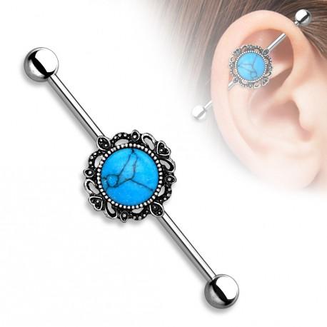 bijou piercing industriel avec une turquoise bleu. Black Bedroom Furniture Sets. Home Design Ideas