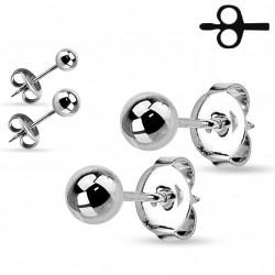 Puces d'oreilles boules acier de 5mm Caq