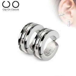 Faux anneau d'oreille acier stainless et noir haz