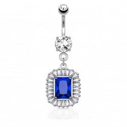 Piercing nombril pendentif square et zirconium bleu Rok