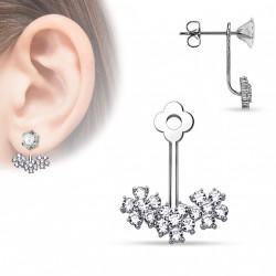 Bijou de puce d'oreille avec des fleurs en zirconium Qay