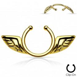 Faux piercing téton ailes d'anges doré Fax