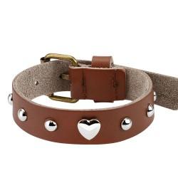 Bracelet en cuir marron avec un coeur Qomy
