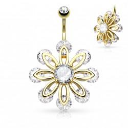 Piercing nombril pendentif doré avec une fleur de zirconium Bag