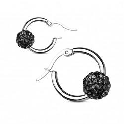 Boucle d'oreille acier et boule en crystal noir Qaz