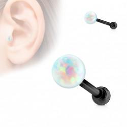 Piercing cartilage tragus noir avec une opaline blanche 3mm Ako