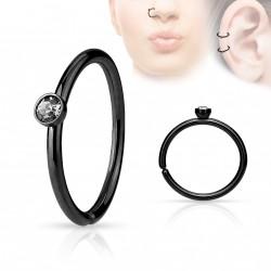Piercing anneau noir 0,8 X 8mm avec crystal blanc Bok