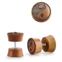 Faux piercing plug en bois Sawo avec logo yin-yang Kayu