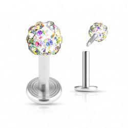 Piercing labret 6mm boule 4mm crystals aurore boréale Nopu
