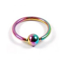 Piercing anneau 10 x 1,2mm arc en ciel et boule Going ANN011