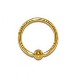 Piercing anneau 10 x 1,2mm doré et boule Kyut ANN011