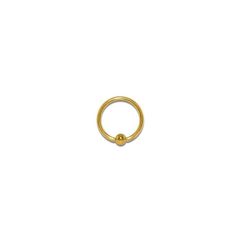 Piercing anneau 10 x 1,2mm doré et boule Kyut Piercing oreille4,60€