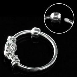 Piercing anneau 10mm plaqué argent Phur NEZ028