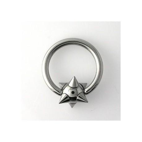 Piercing anneau 12 x 2mm boule et pointes Cyo ANN042