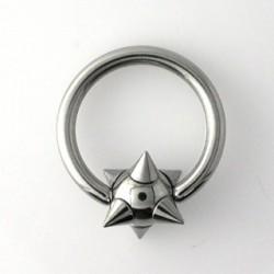 Piercing anneau 12 x 2,5mm boule et pointes Cayl ANN042