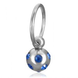Piercing téton anneau et boule bleu Aro TET027