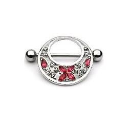Piercing téton papillon et fleurs rose Mas TET034