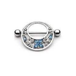 Piercing téton papillon et fleurs bleu Cat Piercing téton6,90€