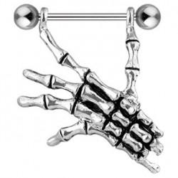 Piercing téton étrier avec main de mort Por TET036