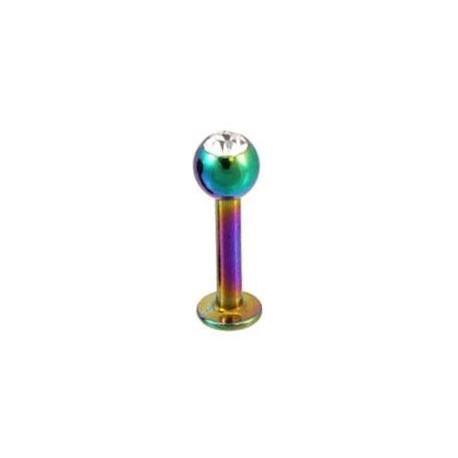 Piercing labret lèvre arc en ciel & cristal Sag LAB042