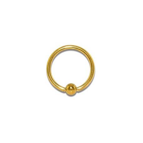 Piercing oreille tragus anneau 10mm doré Cril TRA009