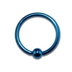 Piercing oreille tragus anneau 10mm bleu Yal TRA009