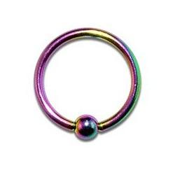 Piercing oreille anneau tragus 8 x 1,2mm arc en ciel TRA010