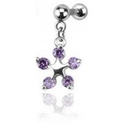 Piercing Tragus fleur violet Aproi TRA008