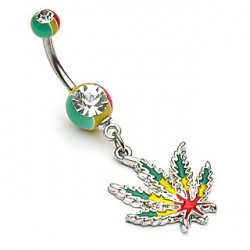 Piercing nombril feuille de cannabis rasta Sike NOM042