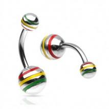 Piercing nombril boule striée Rasta Lura Piercing nombril4,80€