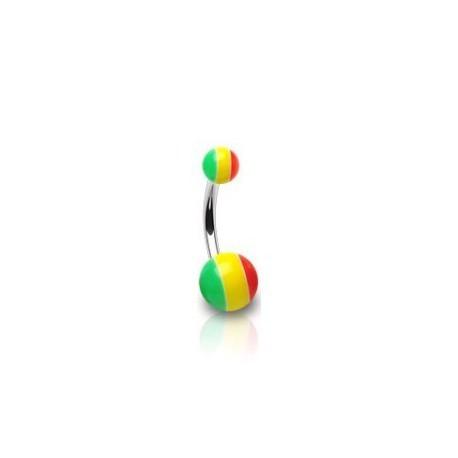 Piercing nombril avec une boule rasta Sium Piercing nombril3,60€