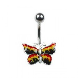 Piercing nombril papillon jaune Buty NOM103