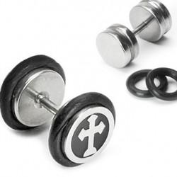 Faux piercing plug noir avec croix gothique Wic Faux piercing4,99€