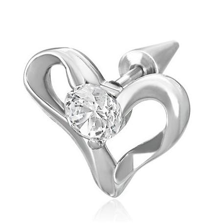Faux piercing coeur et zirconium Xac FAU019