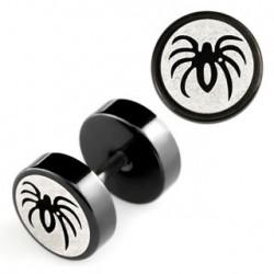 Faux piercing plug acier noir araignée Toya