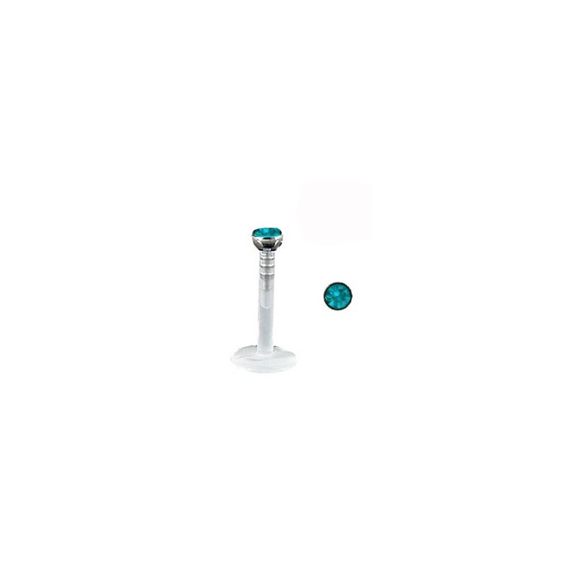 Piercing labret lèvre 6mm bleu zircon Xovyz Piercing labret2,99€